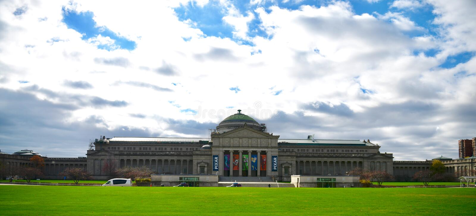 North View of Science and Industry Museum. This is a Fall picture of the North side of the historic Chicago Museum of Science and Industry in Jackson Park stock image