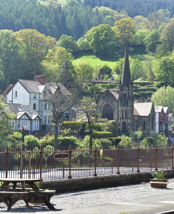 North Wales, Llangollen.  A bight spring day.  River Dee.  Wooded hillsides. stock photo