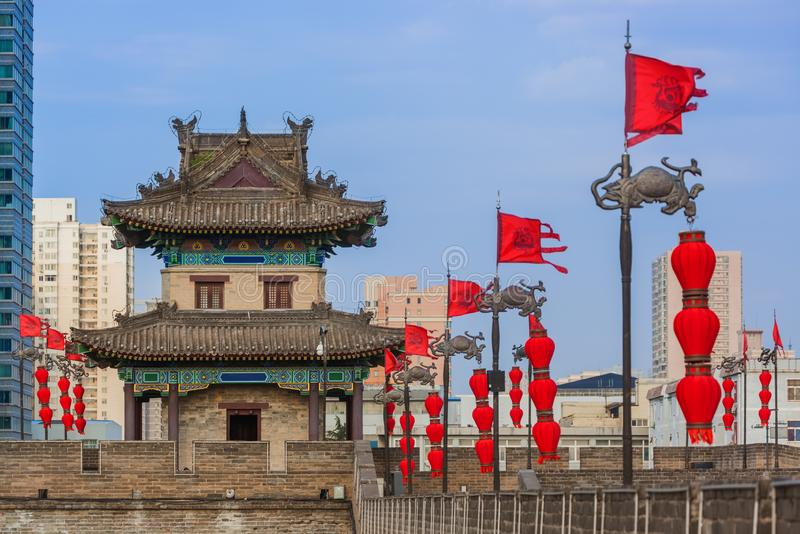 North wall of old town - Xian China royalty free stock photos