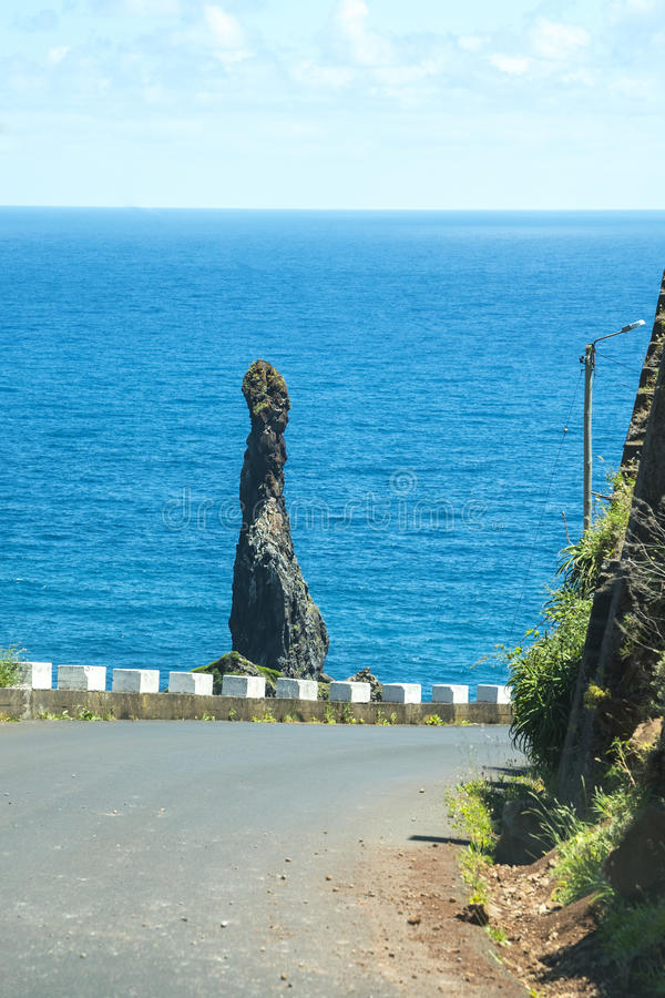 The North West Coast where the Mountains in the north of the Island of Madeira meet the Atlantic Ocean. Madeira is a very mountainous Island with steep cliffs stock photo