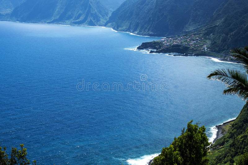 The North West Coast where the Mountains in the north of the Island of Madeira meet the Atlantic Ocean. Madeira is a very mountainous Island with steep cliffs royalty free stock image