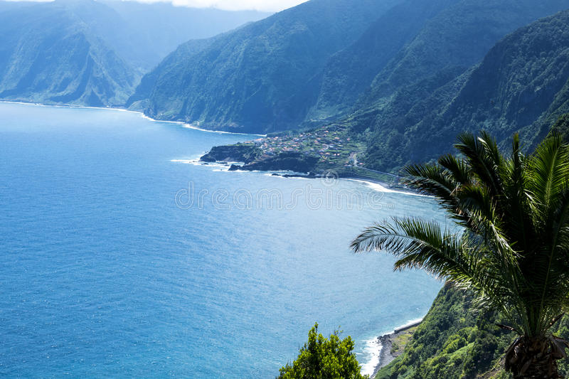 The North West Coast where the Mountains in the north of the Island of Madeira meet the Atlantic Ocean. Madeira is a very mountainous Island with steep cliffs royalty free stock images