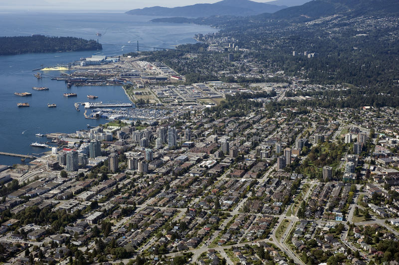 North and West Vancouver. And Burrard Inlet royalty free stock images