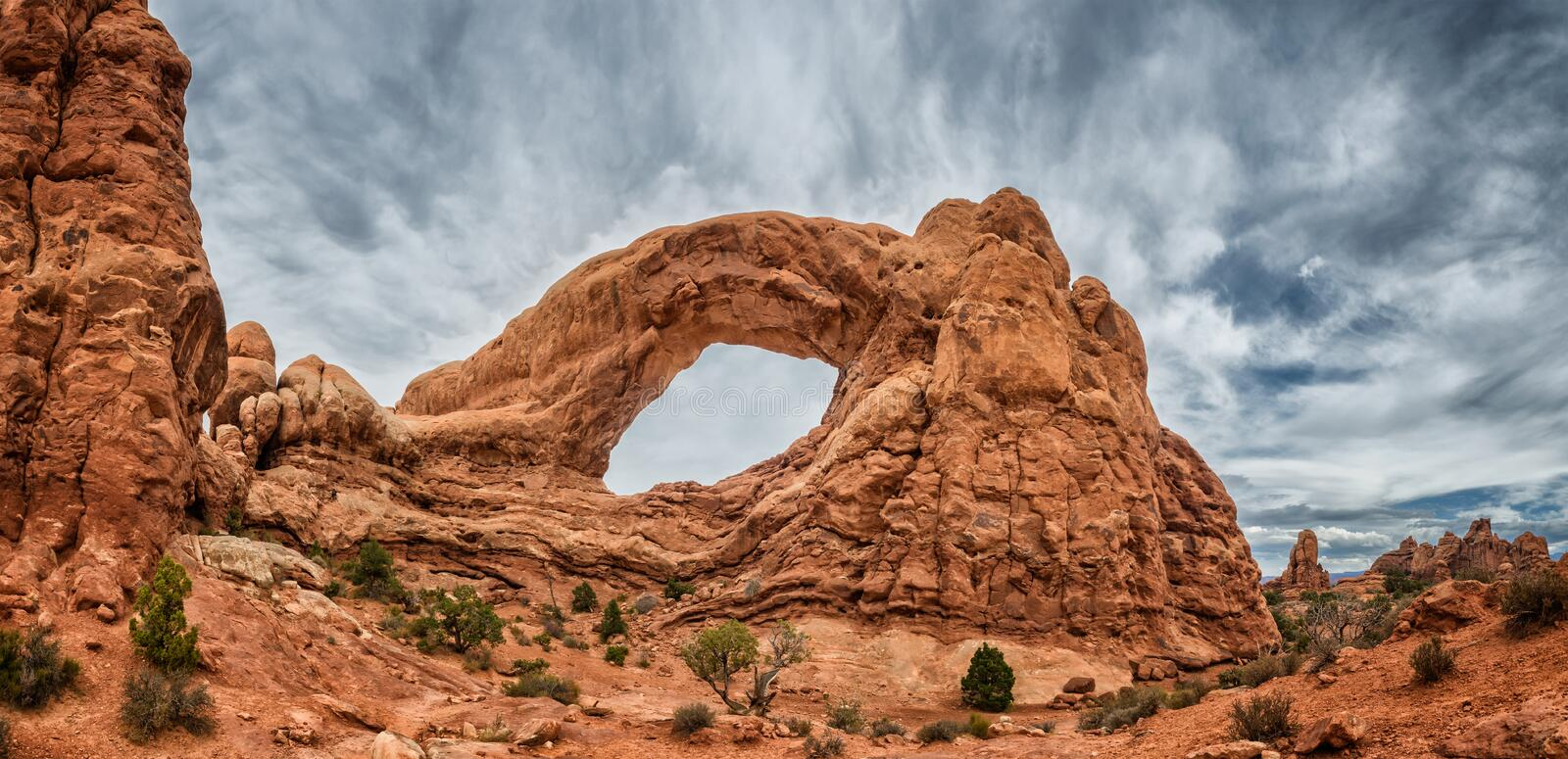 North Window Arch in Arches National Monument, Utah. USA royalty free stock photos