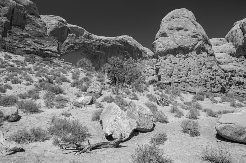 North Window Arch from Backside, Arches National Park, Moab, Utah imagem de stock
