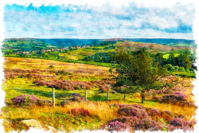 North York Moors National Park in Yorkshire, looking out the village of Castleton. Watercolour painting of summer in the North York Moors National Park in stock illustration