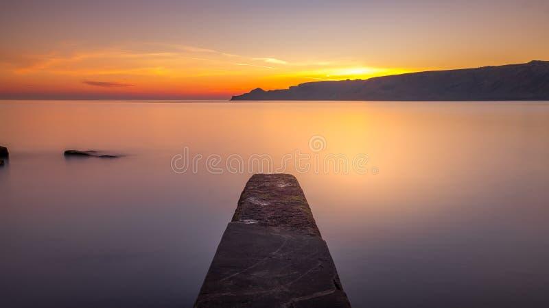 North Yorkshire Coast Sunrise at Runswick Bay stock image