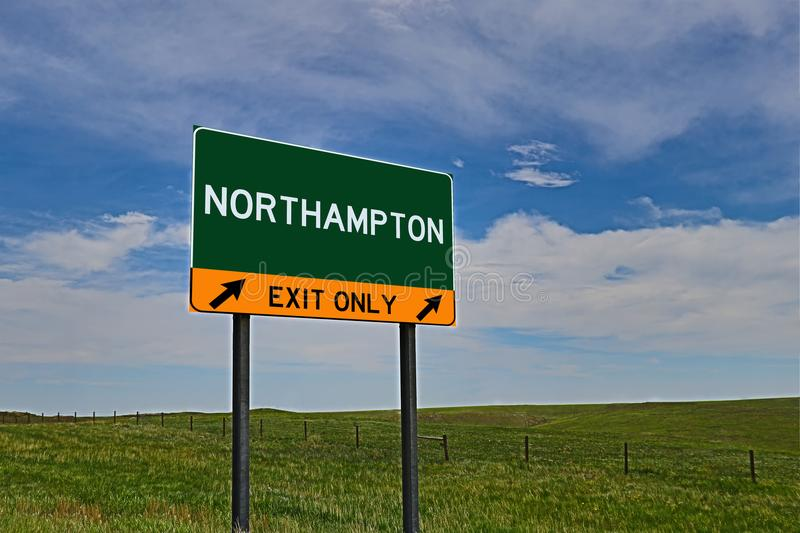 US Highway Exit Sign for Northampton. Northampton `EXIT ONLY` US Highway / Interstate / Motorway Sign stock image