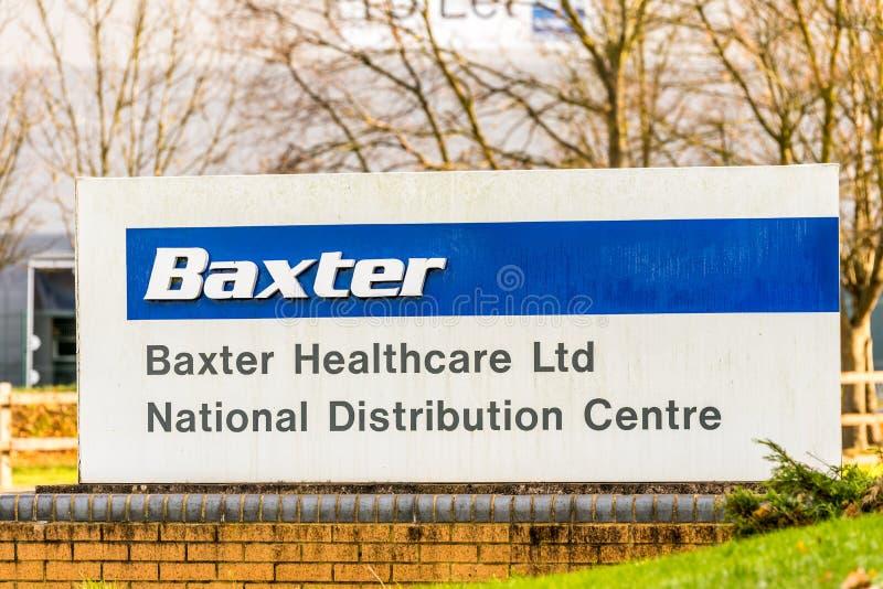 Northampton Großbritannien am 7. Dezember 2017: Baxter Healthcare Distribution Centre-Logo unterzeichnen herein Brackmills-Indust stockfoto