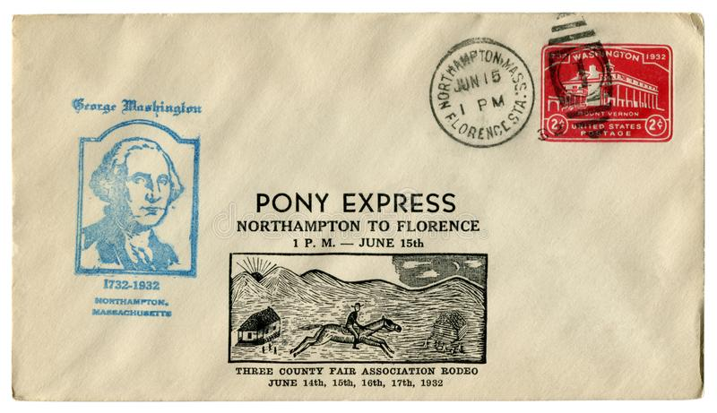 Northampton, Massachusetts, The USA - 15 June 1932: US historical envelope: cover with cachet Pony Express to Florence, red Impri. Nted postage stamp two cents stock photo