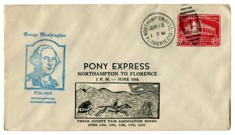 Northampton Massachusetts, USA - 15 Juni 1932: Historiskt kuvert för USA: räkning med kapseln Pony Express till Florence, röda Im arkivfoto