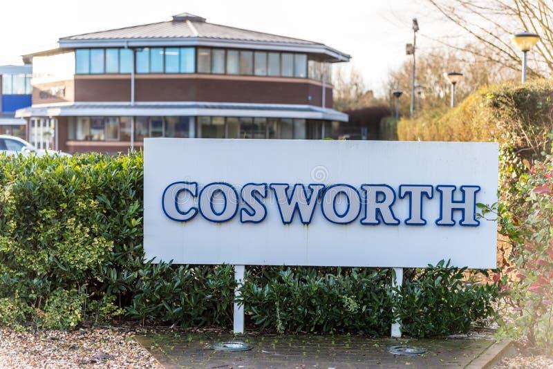 Northampton R-U le 5 janvier 2018 : Spécialiste Logo Sign en moteurs de Cosworth photographie stock libre de droits