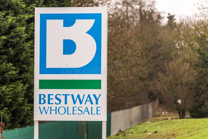 Northampton UK January 11 2018: Bestway Wholesale Cash and Carry logo sign post stock images