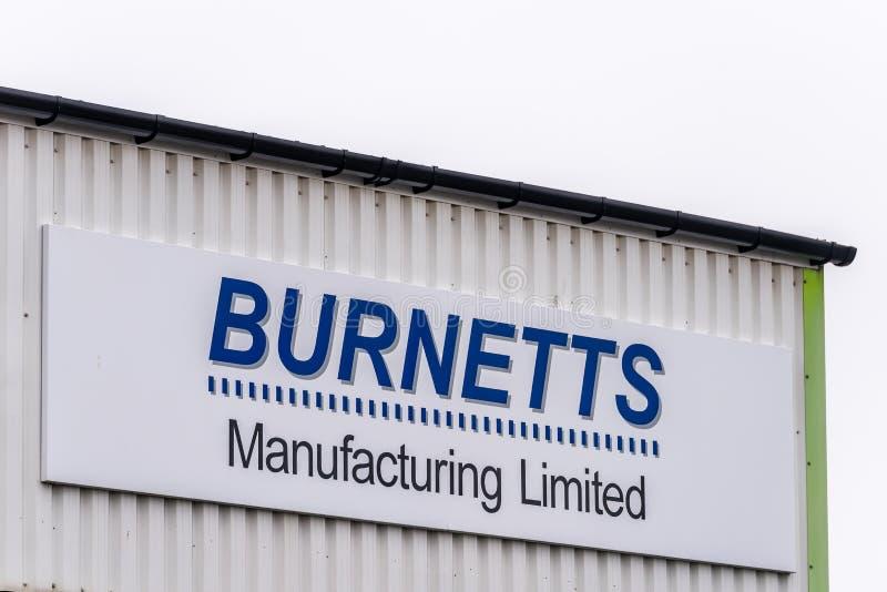 Northampton UK January 11 2018: Burnets Manufacturing Rubber Silicone Moulding Producer logo sign royalty free stock image