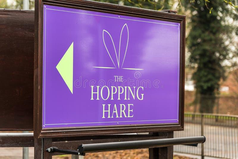 Northampton UK January 11 2018: The Hopping Hare Hotel Bar Restaurant logo sign stand stock photography