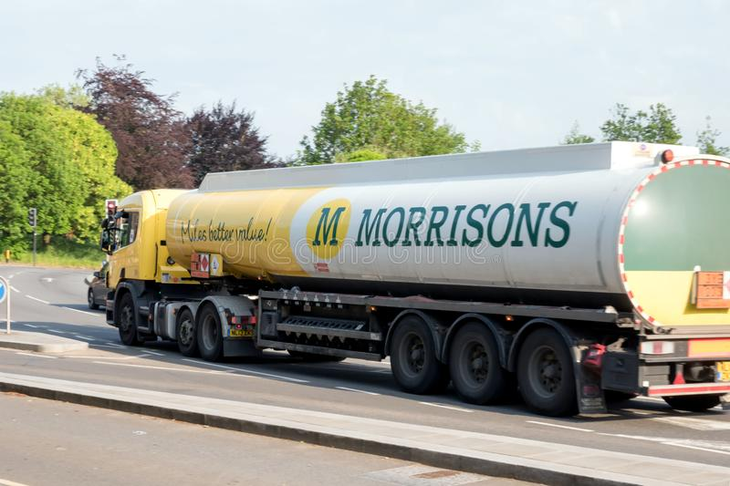Northampton, UK - May 26, 2018: Morrisons Oil Truck on British town city in England.  stock photography