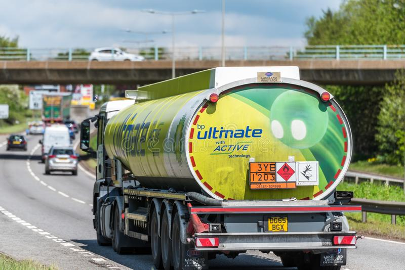 Northampton, UK - May 10th 2019: british petroleum tanker lorry truck on uk motorway in fast motion royalty free stock images