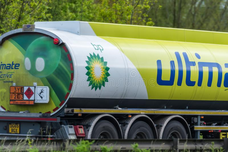 Northampton, UK - May 10th 2019: british petroleum tanker lorry truck on uk motorway in fast motion stock photo