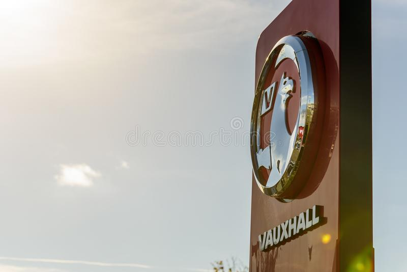 Northampton, UK - Oct 25, 2017: Day view of Vauxhall logo at Riverside Retail Park royalty free stock photo