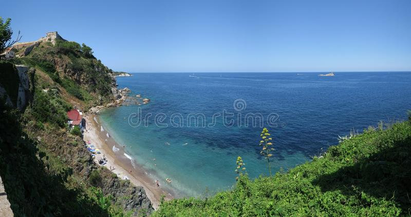 Northeast view from the walls of Portoferrario on the island Elba stock images