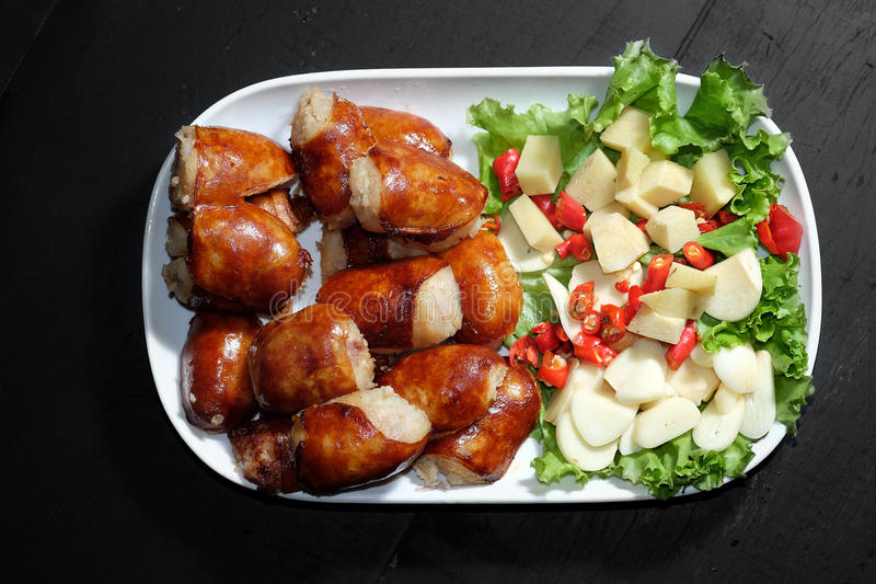 Northeastern Sausage. Spicy Salad food in Thailand stock photos