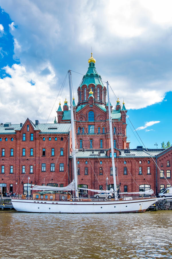 Northen harbour and Uspensky Cathedral. Helsinki, Finland royalty free stock image