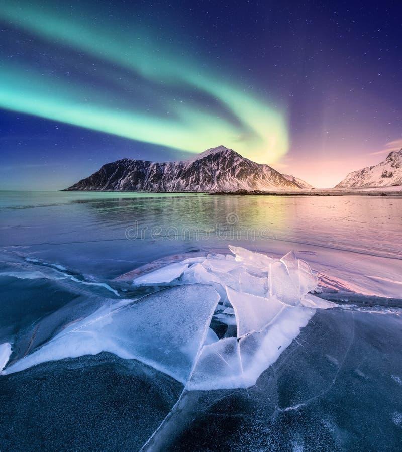 Northen light on the arctic beach, Lofoten islands, Norway stock image