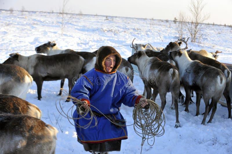 Northern aboriginals. Russia. Yamal. Nadym. Olympics northern aboriginals. Feast Day of deer. .Arktika. Russia . Yamal. april 2016 stock photos