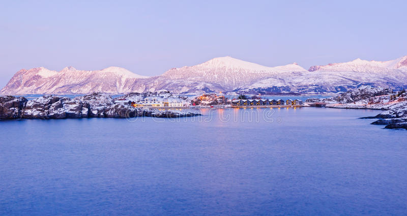 Northern beauty. Panorama. Polar night in Norway. Panorama. Polar night in Norway. Mountains, fjords, and the moon, typical Norwegian house stock images
