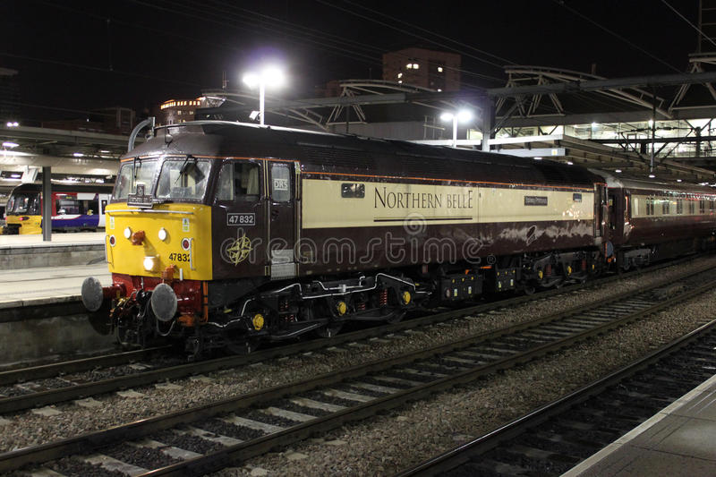 Northern Belle special train at Leeds station, UK stock photo