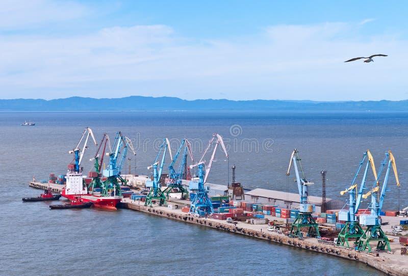 The Northern berth of merchant seaport Korsakov royalty free stock photography