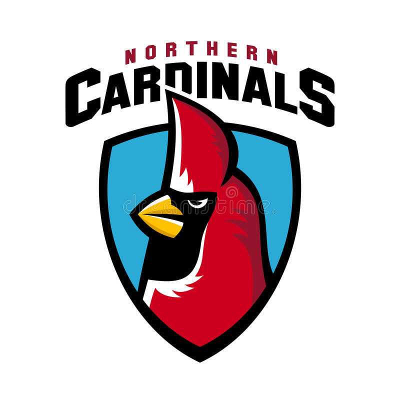 Northern cardinal sport logo angry bird team shield mascot. Sport logo mascot of red angry cold northern cardinal bird on shield for team, championship stock illustration