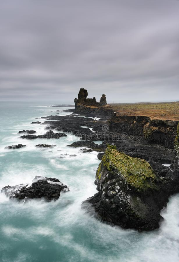 Northern cost of Iceland. Amazing Icelandic landscape at Londrangar Cliffs. royalty free stock photos