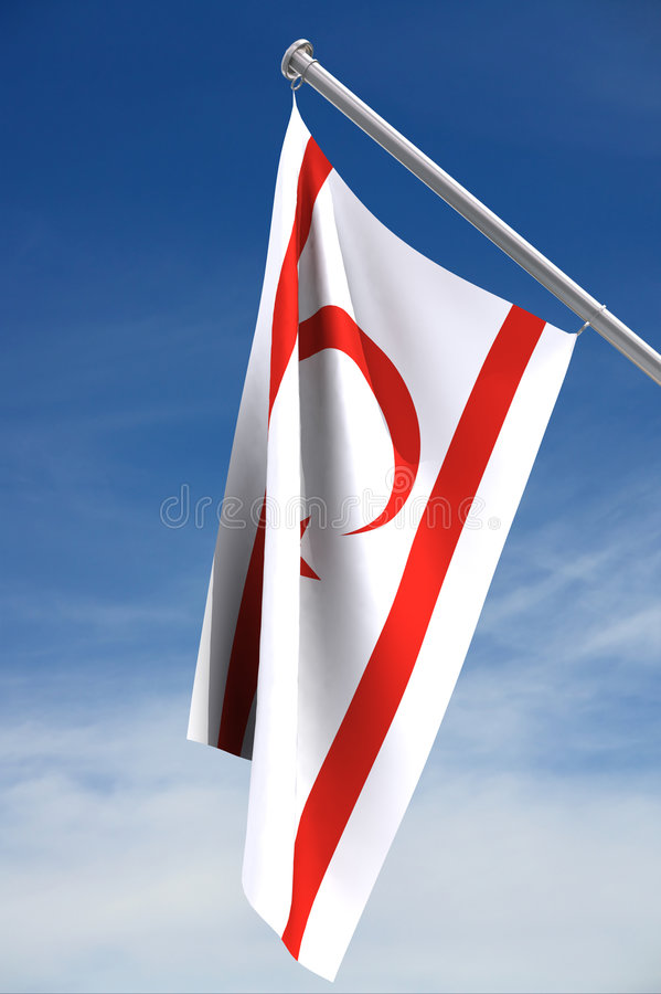 Northern Cyprus flag with sky royalty free stock images