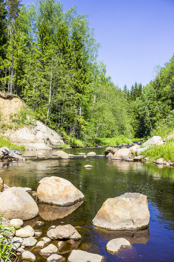 Northern Europe, Karelian Isthmus, traditional landscape - huge stones granite boulders, river, sand, mixed forest. Summer. stock photography