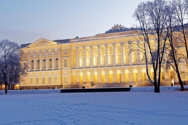 Northern facade of Mikhailovsky palace in St. Petersburg, Russia stock photography