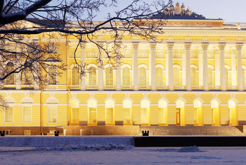 Northern facade of Mikhailovsky palace in St. Petersburg, Russia royalty free stock photo