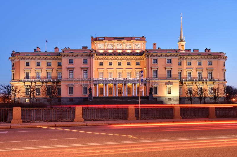 Northern facade of St. Micheal's castle in St. Petersburg, Russia stock image