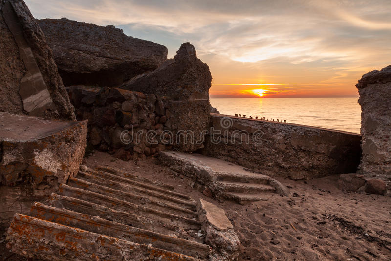 Northern forts. Old demolished Northern forts in Liepaja, Latvia at sunset stock photography