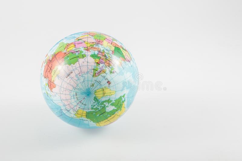 Northern hemisphere of a world globe isolated on white background. Travel, environment and education concept stock images