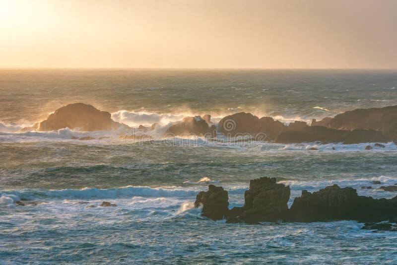 Northern Ireland Antrim Coast Ballintoy Harbour long exposure rocks sunset waves beautiful scenery stock photos