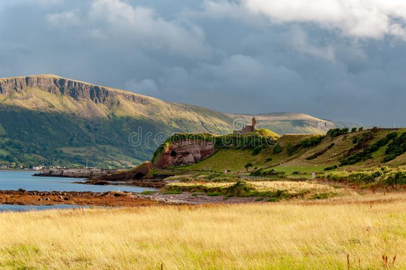 Northern Ireland. Coast and ruin of Red Bay Castle royalty free stock photography