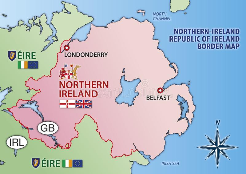 Republic Of Ireland And Northern Ireland Map.Eire And North Ireland Flags Map And Seals Vector Illustration