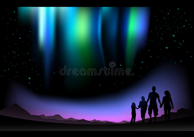 Northern Lights royalty free illustration