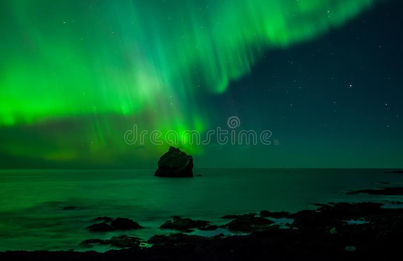 Northern Lights. Above the Atlantic ocean seen from Reykjanes peninsula, Iceland royalty free stock photography