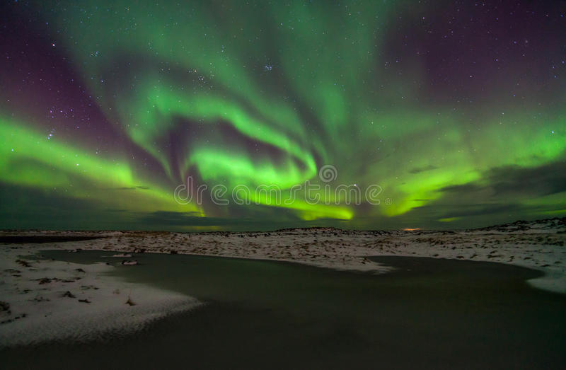 Northern lights. Above calm sea stock images