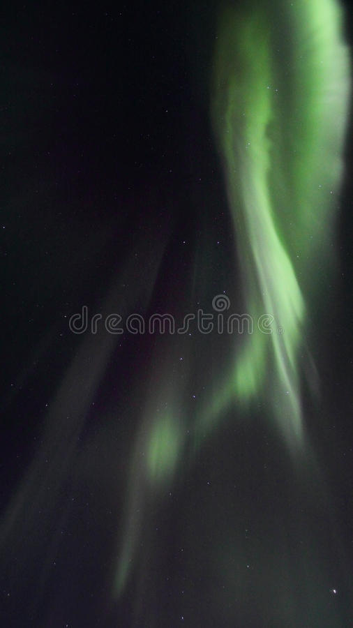 Northern Lights above Gimsoeystraumen II. Northern Light mirroring in the fjord facing Gimsoey, Lofoten islands royalty free stock image
