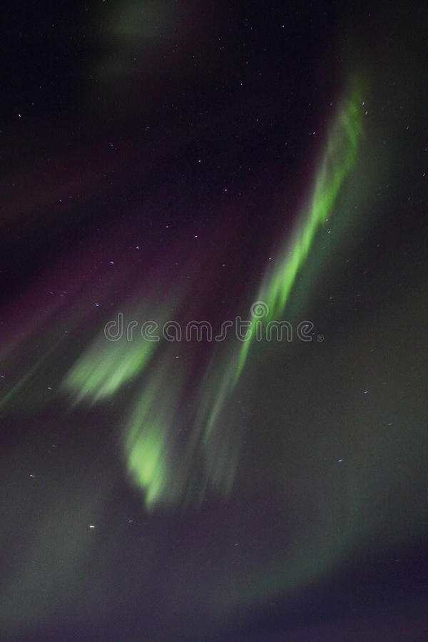 Northern Lights above Gimsoeystraumen III. Northern Light mirroring in the fjord facing Gimsoey, Lofoten islands royalty free stock photos