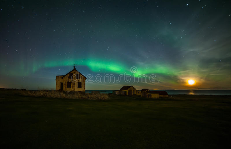 Northern Lights. Above old abandoned farm on Reykjanes peninsula in Iceland stock images