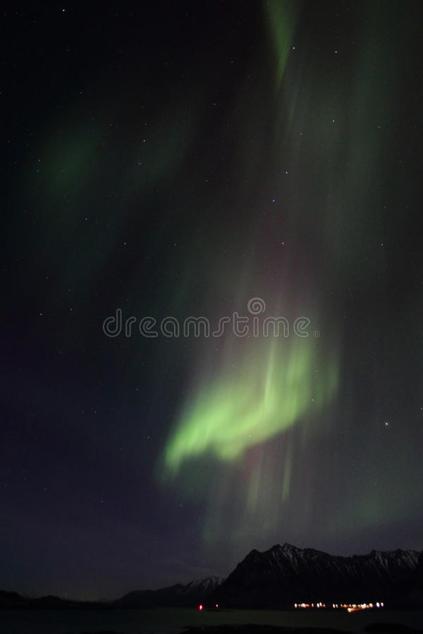 Northern Lights above Gimsoeystraumen. Northern Light mirroring in the fjord facing Gimsoey, Lofoten islands royalty free stock photography